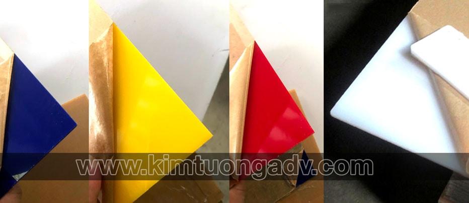 các loại tấm mica màu (mica sữa, mica đỏ, mica vàng, mica xanh dương)